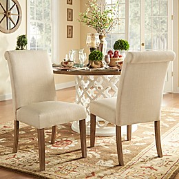 iNSPIRE Q® Auburn Hills Rolled Side Chairs in Beige (Set of 2)