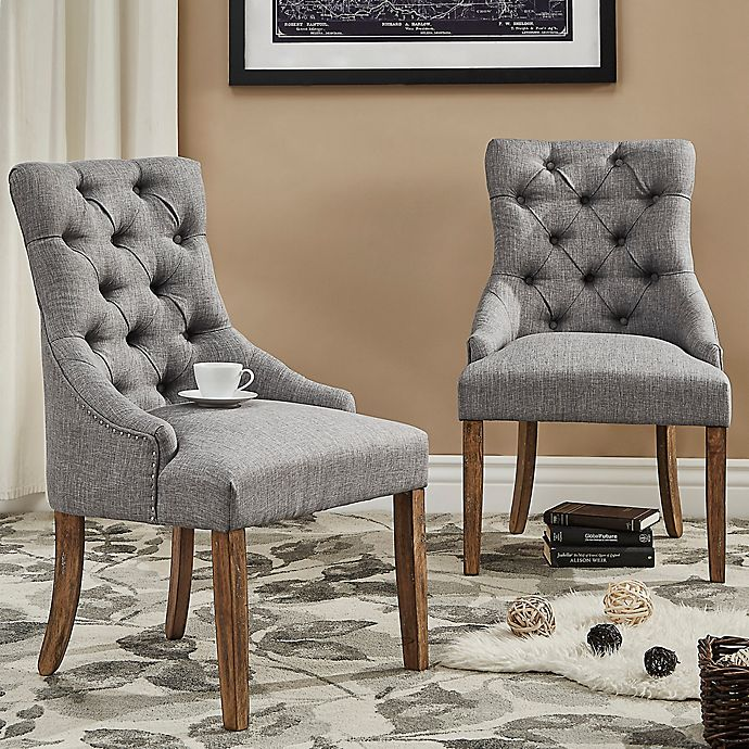Alternate image 1 for iNSPIRE Q® Treviso Button-Tufted Dining Chairs in Grey (Set of 2)