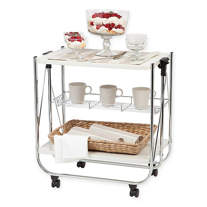 Alternate image 1 for IRIS® Foldable Serving Cart in White