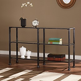 Southern Enterprises Metal/Glass 3-Tier Console Table in Black