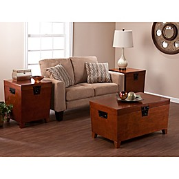 Southern Enterprises 3-Piece Pyramid Trunk Table Collection in Oak