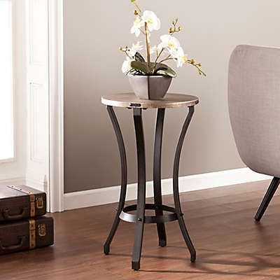 Southern Enterprises Lisbon Round Accent Table in Grey