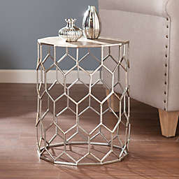 Southern Enterprises Clarissa Metal Accent Drum  Table in Silver