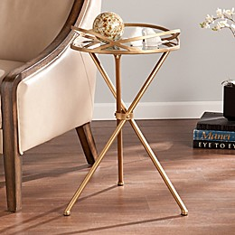 Southern Enterprises Leslie Mirrored Accent Table in Antique Bronze