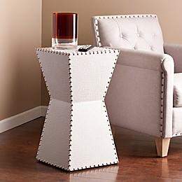 Southern Enterprises Warrington Faux Leather Accent  Drum  Table in White