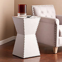 Southern Enterprises Warrington Faux Leather Accent  Drum  Table in White