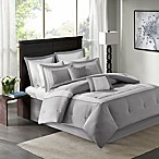 Madison Park Stratford 8-Piece Queen Comforter Bedding Set with Bedskirt in Grey