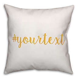 Designs Direct Script Font Hashtag Square Throw Pillow in Yellow