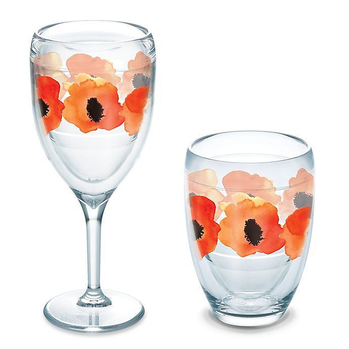 Alternate image 1 for Tervis® Watercolor Poppy Wrap Wine Glass