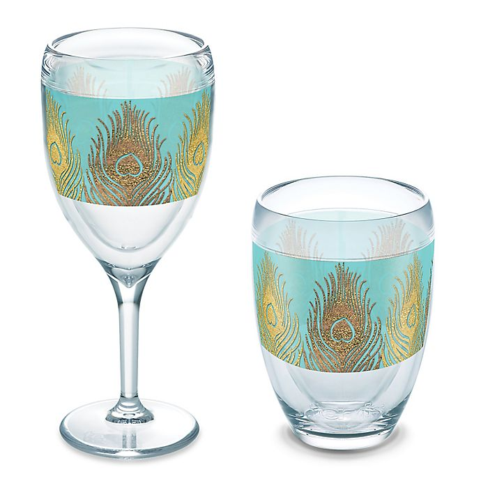 Alternate image 1 for Tervis® Glittery Peacock Feathers Wrap Wine Glass