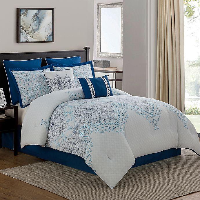 Alternate image 1 for Verona 8-Piece Comforter Set in Navy