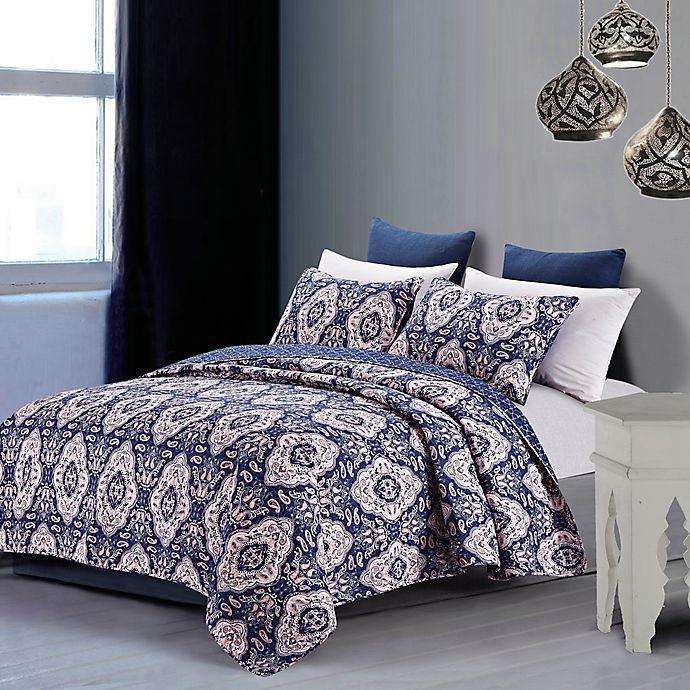 Alternate image 1 for Leandra Quilt Set in Blue/Rose