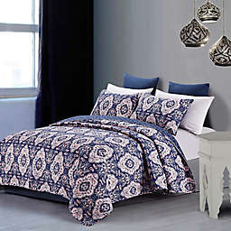 Leandra Quilt Set in Blue/Rose