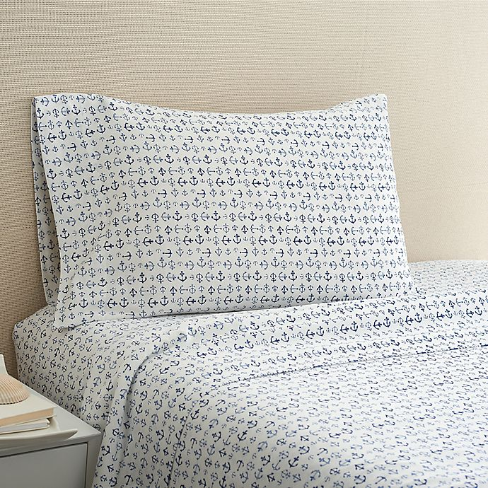 Alternate image 1 for Coastal Life Anchor 300-Thread-Count King Sheet Set in Light Blue