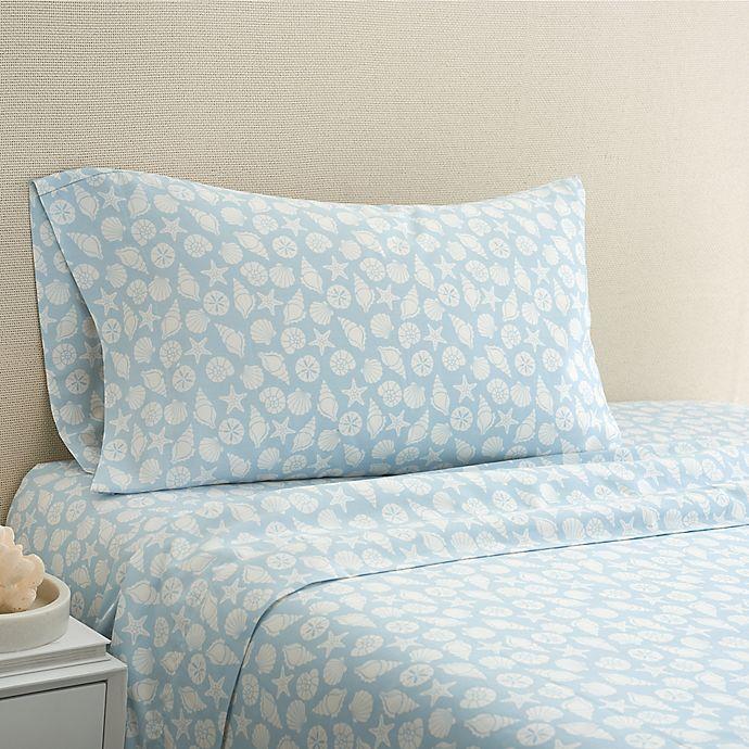 Alternate image 1 for Coastal Life Shell 300-Thread-Count California King Sheet Set in Light Blue