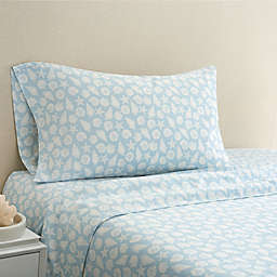 Coastal Life Shell 300-Thread-Count California King Sheet Set in Light Blue