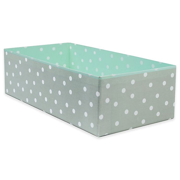 Alternate image 1 for Home Traditions Polka Dot Rectangle Drawer Organizer in Aqua/Grey