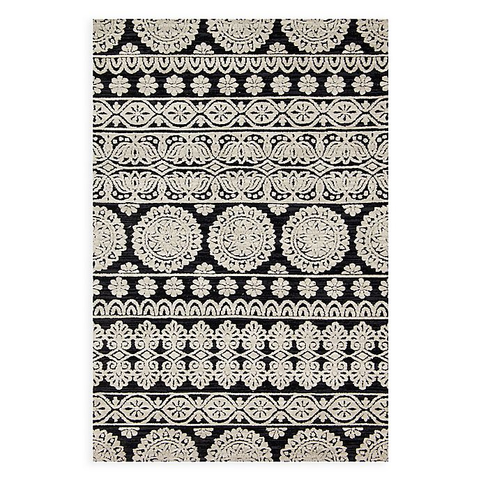 Alternate image 1 for Magnolia Home by Joanna Gaines Lotus 7-Foot 9-Inch x 9-Foot 9-Inch Area Rug in Black/Silver