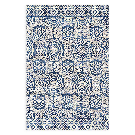 Alternate image 1 for Magnolia Home by Joanna Gaines Lotus 5-Foot x 7-Foot 6-Inch Area Rug in Blue/Ivory
