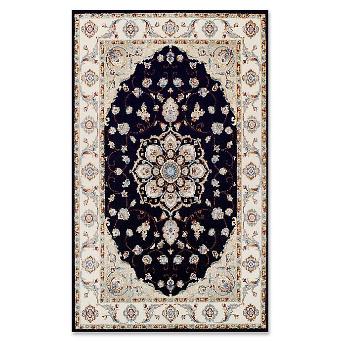 Alternate image 1 for Couristan® Vintage Floral Malayer Rug in Ebony/Sand
