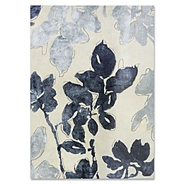 Ivory Blue Floral Wool and Viscose Rug