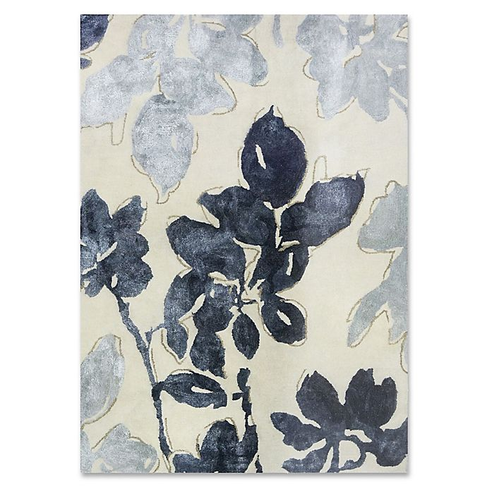 Alternate image 1 for Ivory Blue Floral Wool and Viscose 5-Foot x 7-Foot Area Rug