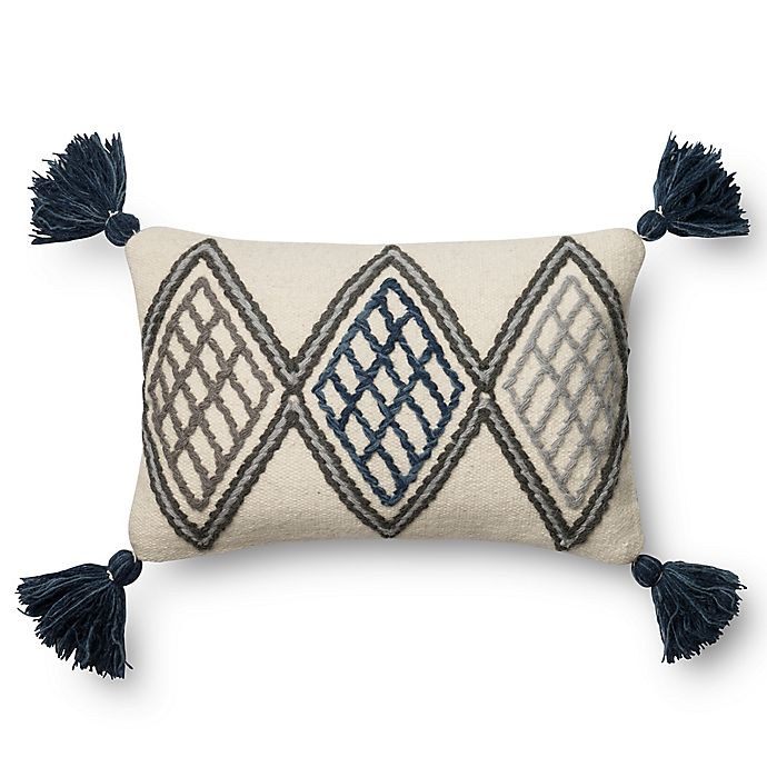 Alternate image 1 for Magnolia Home Soren 13-Inch x 21-Inch Oblong Throw Pillow in Blue/Ivory