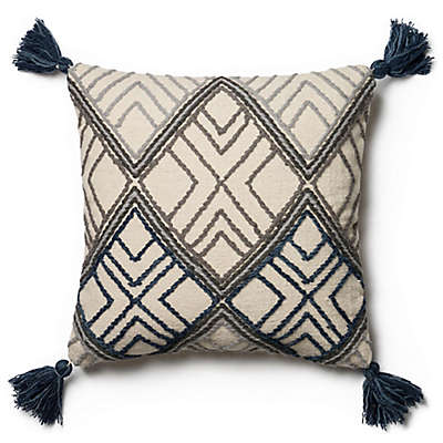Magnolia Home Soren 22-Inch x 22-Inch Throw Pillow in Blue/Ivory