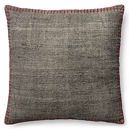 Magnolia Home Wilson 22-Inch Square Throw Pillow in Grey/Red