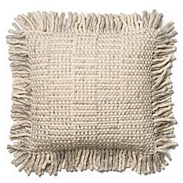 Magnolia Home Bernice 22-Inch  Square Throw Pillow in Grey/Ivory