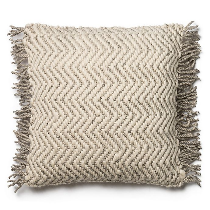 Alternate image 1 for Magnolia Home Messenger 22-Inch  Square Throw Pillow in Grey/Ivory