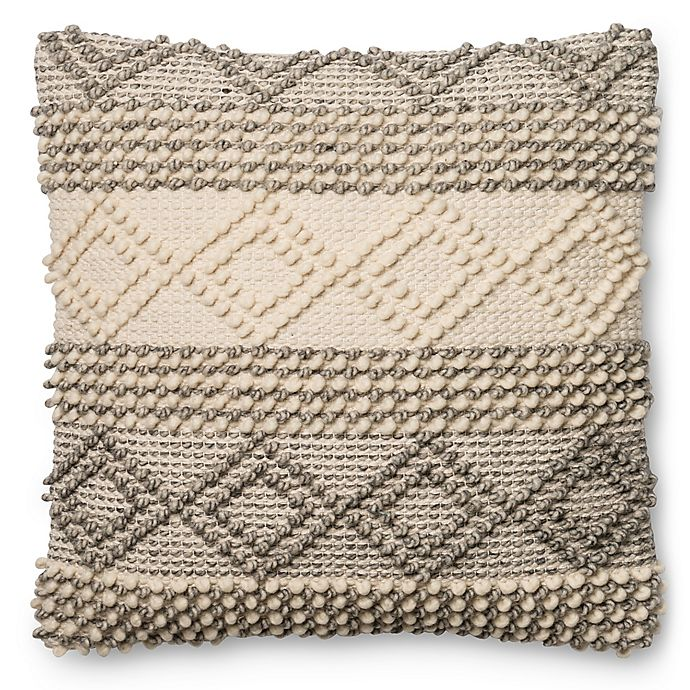 Alternate image 1 for Magnolia Home Joslin 22-Inch Square Throw  Pillow in Grey/Ivory