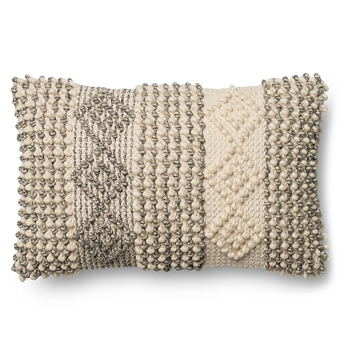 Alternate image 1 for Magnolia Home Joslin 13-Inch x 21-Inch Oblong Throw  Pillow in Grey/Ivory