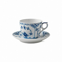 Royal Copenhagen Fluted Half Lace Coffee Cup and Saucer in Blue