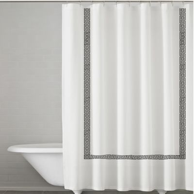 Kassatex Greek Key Embroidered Shower Curtain In White Charcoal