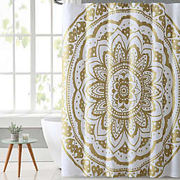 Vcny Karma Shower Curtain In Gold White