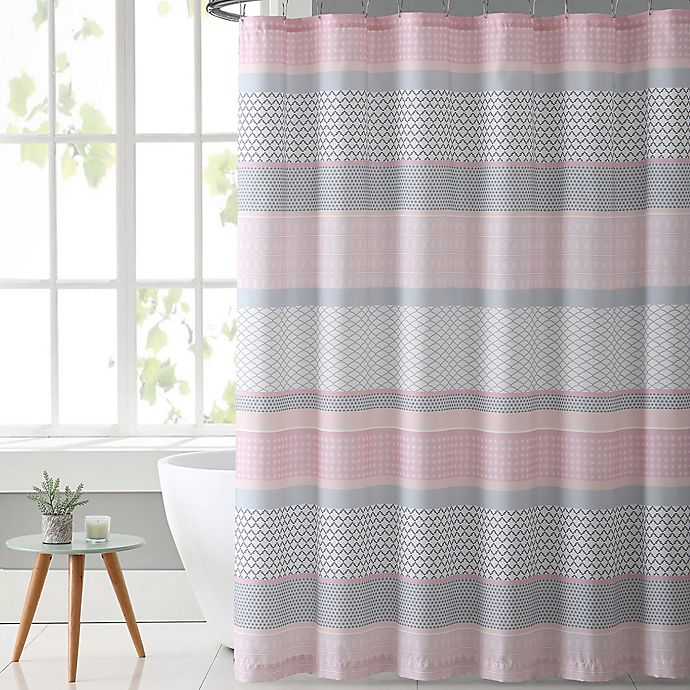VCNY Home Stockholm Shower Curtain In Pink/Grey