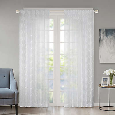 Regency Heights Kendall Rod Pocket/Back Tab Sheer Window Curtain Panel in Ivory