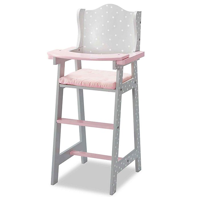 Alternate image 1 for Olivia's Little World Polka Dot 18-Inch Baby Doll High Chair in Pink/Grey