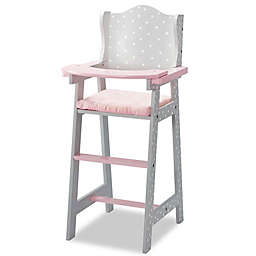 Olivia's Little World Polka Dot 18-Inch Baby Doll High Chair in Pink/Grey