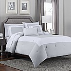 Hotel Band 5-Piece Full/Queen Comforter Set in Grey/White
