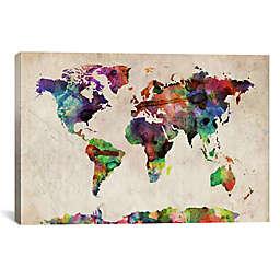 World Map Urban Watercolor II 26-Inch x 18-Inch Canvas Wall Art