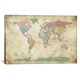 World Cities Map 26-Inch x 18-Inch Canvas Wall Art
