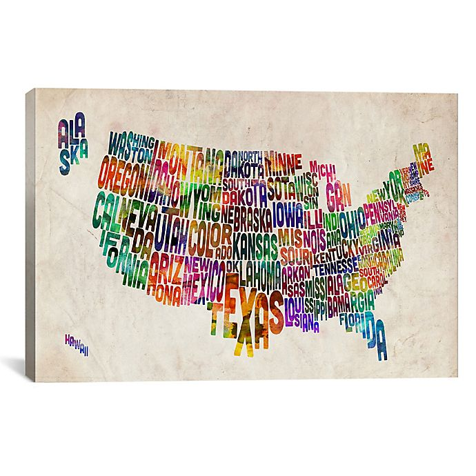 Typographic Text Usa Map Canvas Wall Art Bed Bath Beyond