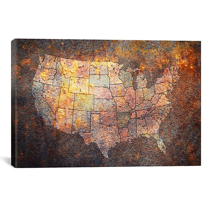 Alternate image 1 for USA Map 40-Inch x 26-Inch Canvas Wall Art