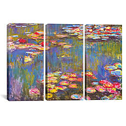 Water Lilies 1916 by Claude Monet 3-Panel 60-Inch x 40-Inch Canvas Print