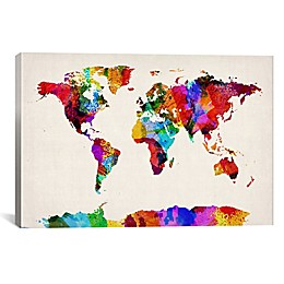 Map of the World Abstract II Canvas Wall Art