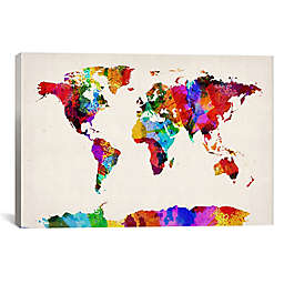 Map of the World Abstract II 26-Inch x 18-Inch Canvas Wall Art