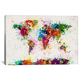 World Map Paint Drops III 40-Inch x 26-Inch Canvas Wall Art