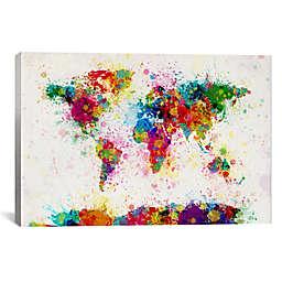 World Map Paint Drops III 60-Inch x 40-Inch Canvas Wall Art